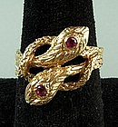 Art Nouveau 14KT Gold Ruby Ring w/ 2 Intertwined Snakes