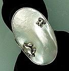 Massive Antique Carl Schon Silver Pearl Figural Ring