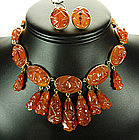 Signed Italian Carved Amber Bakelite Necklace Earrings