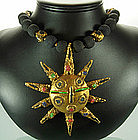 1960s Italian Celluloid Sun Motif Pendant Necklace Pin