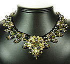 Signed Hobe Olive Lime Givre Tiered Glass Bib Necklace