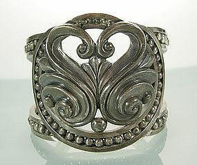 Margot de Taxco Stylized Swan Motif Sterling Bracelet