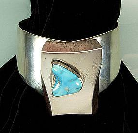 Modernist Biomorphic Sterling Wood Turquoise Bracelet