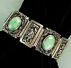 Stunning Heavy Chinese Figural Silver Jade Bracelet