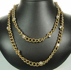 Long French Chain Necklace Two Sided Crystal Stones