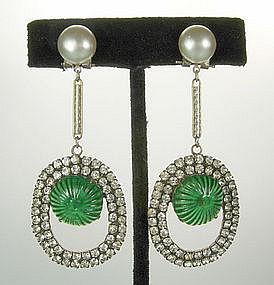 French Chandelier Earrings Strass, Green Gripoix Stones