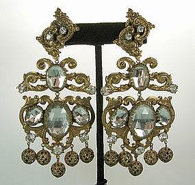 Huge Kenneth Lane KJL 1960s Headlight Stones Earrings