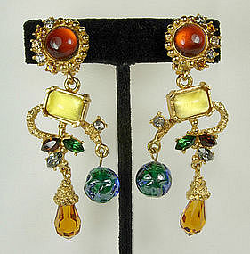 Christian Lacroix Barbaric Style Glass Stones Earrings