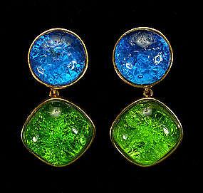Dominique Aurientis Paris Earrings Poured Glass Stones