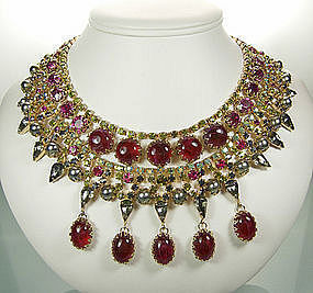 Unsigned Schreiner Fuschia Egyptian Style Bib Necklace