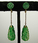 1920s Art Deco 14KT Gold Carved Jade Drop Earrings