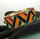 Yves Saint Laurent YSL Enameled Hinged Bangle Greens