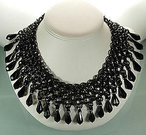 Monette Paris Black Chainmail Metal / Lucite Necklace