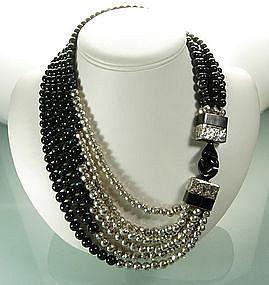 Asymmetric Modernist Silver, Labradorite, Horn Necklace