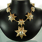 Balenciaga France Rope Star Motif Faux Pearl Necklace