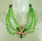 Unsigned L. Rousselet Chartreuse / Pink Glass Necklace