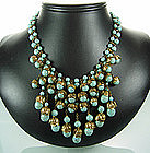 1940s Turquoise Glass Chains Petals Bib Necklace France