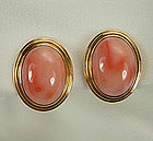 14KT Gold and Pink Coral Earrings Signed Gump's