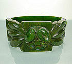 Chunky Green Marbled Deeply Carved Bakelite Clamper