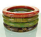 4 Scratch Carved Bakelite Bangles Rust Greens Chocolate