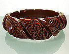 Very Deeply Flower Carved Chocolate Bakelite Bangle