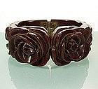 40s Raisin Bakelite Clamper Deeply Carved Roses, Leaves