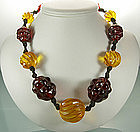 Huge Carved Applejuice Cherry Amber Bakelite Necklace
