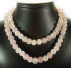 1920s Rose Quartz Chinese Motif Carved Beaded Necklace