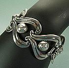 R. Rivera Pre-Eagle Taxco Sterling Wide Link Bracelet