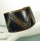 Early Modernist Copper and Leather Cuff Bracelet