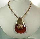 1960s Lanvin Paris Honey Bakelite Pendant Necklace