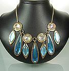 60s Modern Egyptian Bib Necklace: Huge Glass Stones