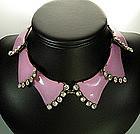 1960s Pink Enameled and Strass Necklace: Luciana Italy