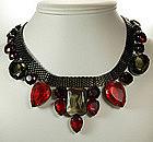 1970s Italian Bib Necklace Huge Red Topaz Purple Stones