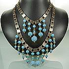 1960s 2 Tier Turquoise Poured Glass Drop Bib Necklace