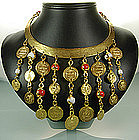 1960s Italian Etruscan Collar Necklace Coin Charm Drops