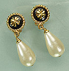Signed Chanel Drop Earrings: Black Stones, Faux Pearls