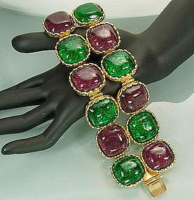 Dominique Aurientis Bracelet: Green Purple Poured Glass