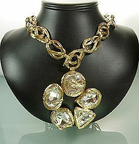 St Laurent Rive Gauche Long Necklace Headlight Stones