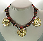 Kenneth Lane KJL Tribal Style Faux Coral Bib Necklace