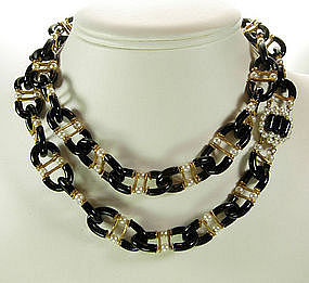 Archimede Seguso for Chanel Black Glass Pearls Necklace