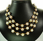 French Pale Pastels Crackle Glass 3 Tier Bib Necklace