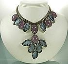 1960 Unsigned Schreiner Necklace Huge Blue Pink Stones
