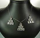 20s Art Deco Sterling Crystal Necklace: Ziggurat Drops