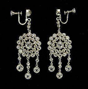 Edwardian Sterling  Rock Crystal Stones Drop Earrings