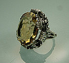 Ornate Austro Hungarian Silver Ring: Very Large Citrine