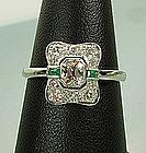 C 1930 Art Deco 14KT White Gold Diamond Emerald Ring