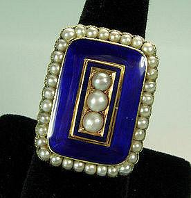 Very Large Georgian 14KT Gold, Pearl, Blue Enamel Ring