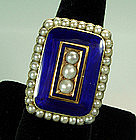 Very Large Georgian 14KT Gold, Pearl, Blue Enamel Ring