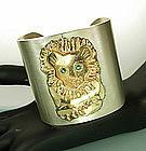 Big 1970s Silver 14KT Gold Emerald Lion Motif Bracelet